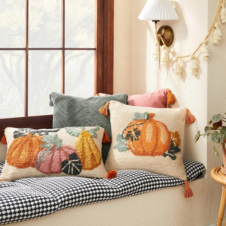 """<p>""""The easiest way to give your home a fall update is with throw pillows, and this <span>Pumpkin Lumbar Throw Pillow</span> ($25) from Jungalow's latest Target collab is giving me major heart eyes. Put it on a sofa or bed for instant autumnal vibes."""" - Macy Cate Williams, senior editor, Commerce</p>"""