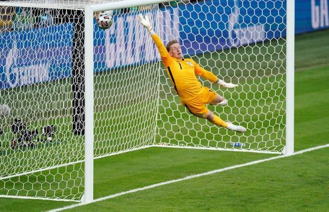 England keeper Jordan Pickford is beaten for the first time in the tournament as Denmark's Mikkel Damsgaard fires his side ahead in the semi-final