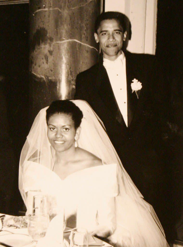 The Obamas on their wedding day, Oct. 3, 1992.