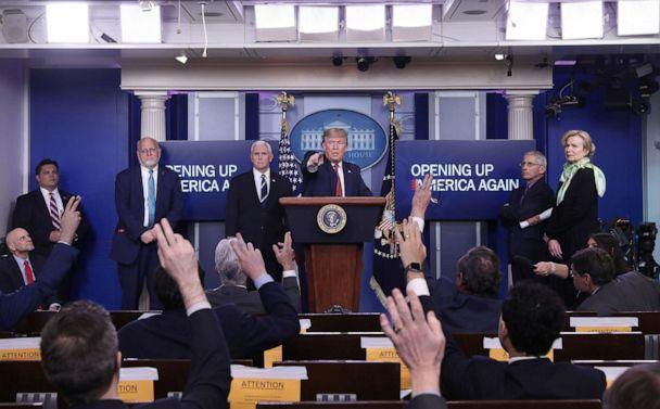 PHOTO: President Donald Trump answers questions during an announcement of the Trump administration's guidelines for 'Opening Up America Again' at the daily coronavirus task force briefing at the White House in Washington, April 16, 2020. (Leah Millis/Reuters, FILE)
