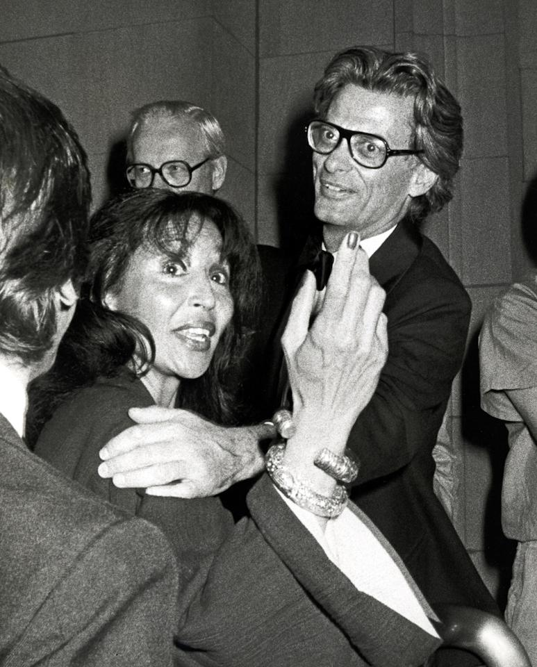 <p>Richard Avedon (right) and model China Machado at the Metropolitan Museum of Art on September 13, 1978. (Photo: Ron Galella/WireImage) </p>