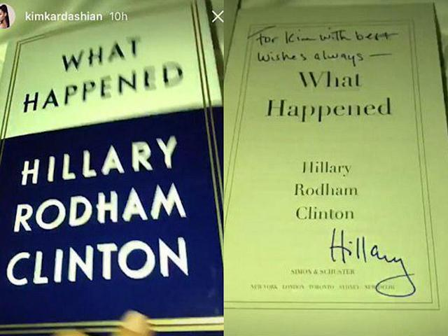 <p>Kim Kardashian included a pic of an inscribed copy of Clinton's latest book on Snapchat, which is pretty much the ultimate compliment from the <em>Keeping Up With the Kardashians</em> star. (Photo: Kim Kardashian via Instagram) </p>