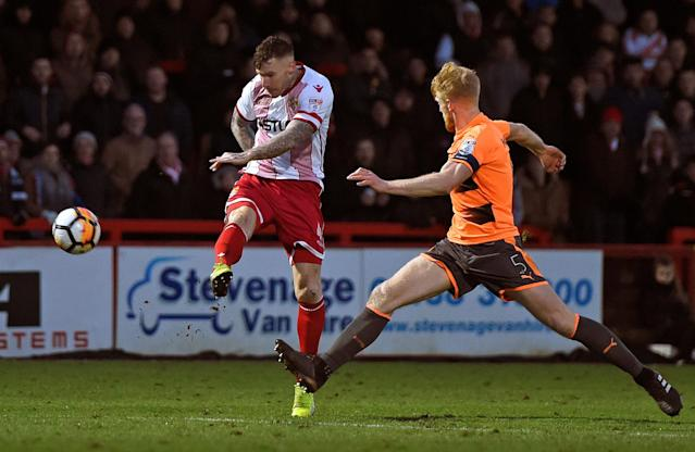 Soccer Football - FA Cup Third Round - Stevenage vs Reading - The Lamex Stadium, Stevenage, Britain - January 6, 2018 Stevenage's Jack King in action with Reading's Paul McShane Action Images/Alan Walter