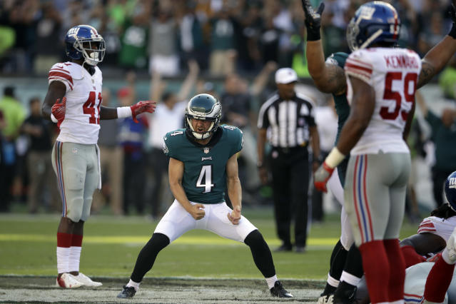 <p>Philadelphia Eagles' Jake Elliott celebrates after kicking the game-winning field goal during an NFL football game against the New York Giants, Sunday, Sept. 24, 2017, in Philadelphia. Philadelphia won 27-24. (AP Photo/Matt Rourke) </p>