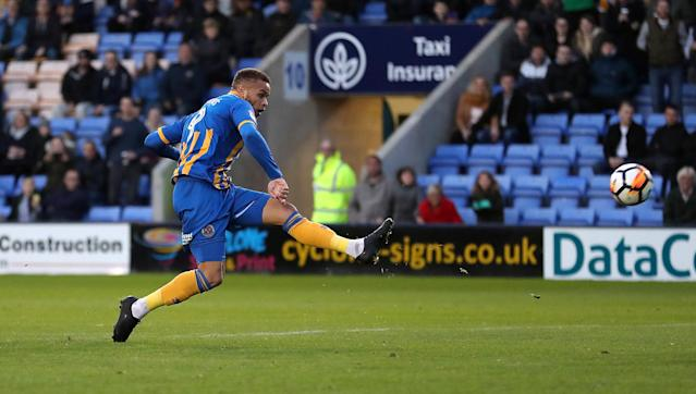 Soccer Football - FA Cup First Round - Shrewsbury Town vs Aldershot Town - New Meadow, Shrewsbury, Britain - November 4, 2017 Shrewsbury Town's Carlton Morris scores their fifth goal Action Images/John Clifton
