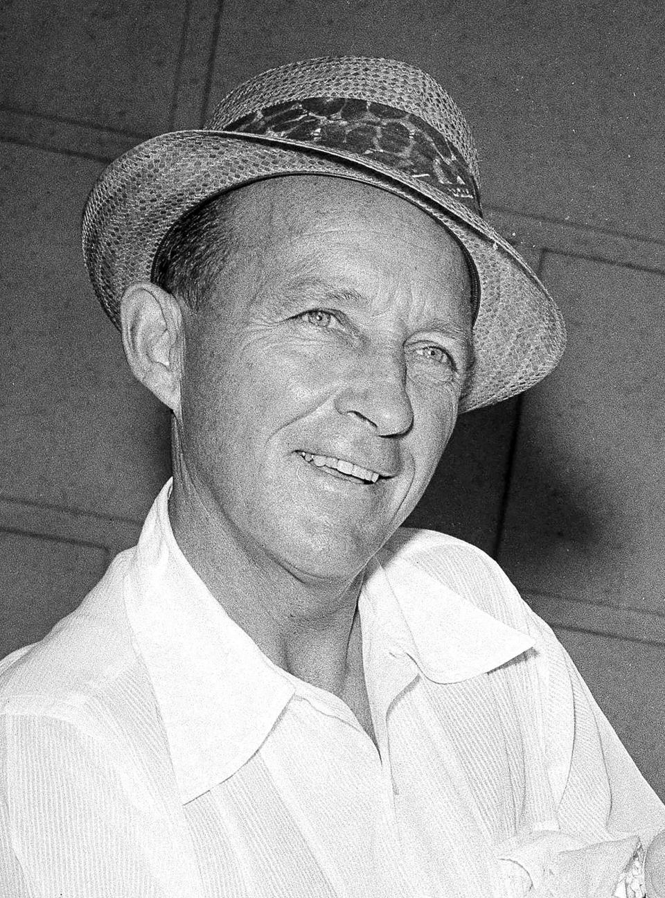 """FILE - Actor-singer Bing Crosby appears in Los Angeles on Sept. 20, 1959. Crosby, who died in 1977, won an Academy Award for best actor for playing a priest in the 1945 film """"Going My Way,"""" and made seven """"road"""" movies with his friend, comic Bob Hope. Some of his hit songs include """"Pennies From Heaven,"""" """"It's Been a Long, Long Time,"""" """"Don't Fence Me In"""" and """"Accentuate the Positive."""" (AP Photo/Don Brinn, File)"""