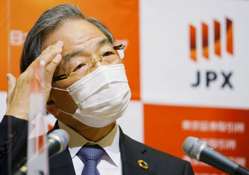 Japan Exchange Group (JPX) Chief Executive Officer and next head of the Tokyo Stock Exchange Akira Kiyota attends a news conference in Tokyo