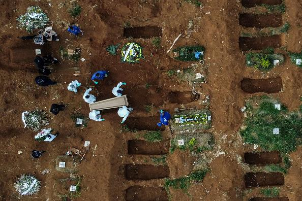 Aerial picture showing the burial of an alleged COVID-19 victim at the Vila Formosa Cemetery, in the outskirts of Sao Paulo, Brazil.