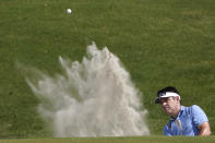 Louis Oosthuizen, of South Africa, works on the sixth hole during the third round at the PGA Championship golf tournament on the Ocean Course, Saturday, May 22, 2021, in Kiawah Island, S.C. (AP Photo/Chris Carlson)