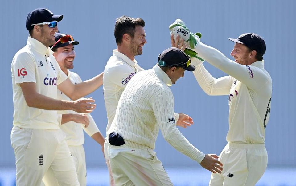 James Anderson celebrates with Jos Buttler after taking a wicket in the Third Test (Getty Images)