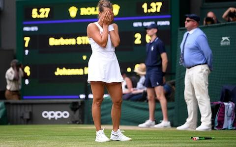 Barbora Strycova feels the emotion as she defeats Johanna Konta to earn a trip to the quarter-finals - Credit: GETTY IMAGES