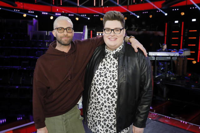 Jordan Smith helps out his old coach Adam Levine on <em>The Voice,</em> Season 14. (Photo: NBC)