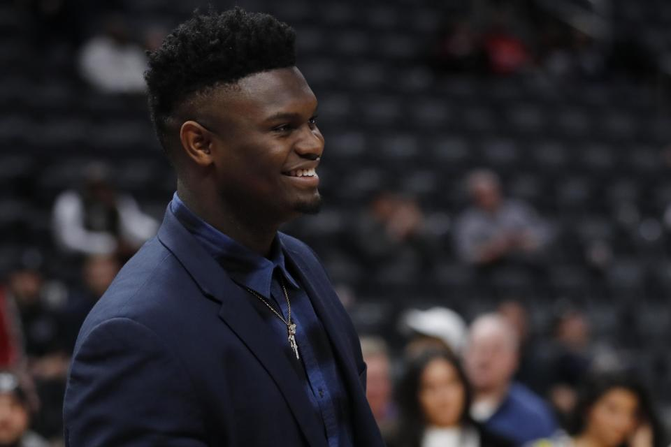 Jan 13, 2020; Detroit, Michigan, USA; New Orleans Pelicans forward Zion Williamson (1) after the game against the Detroit Pistons at Little Caesars Arena. Mandatory Credit: Rick Osentoski-USA TODAY Sports