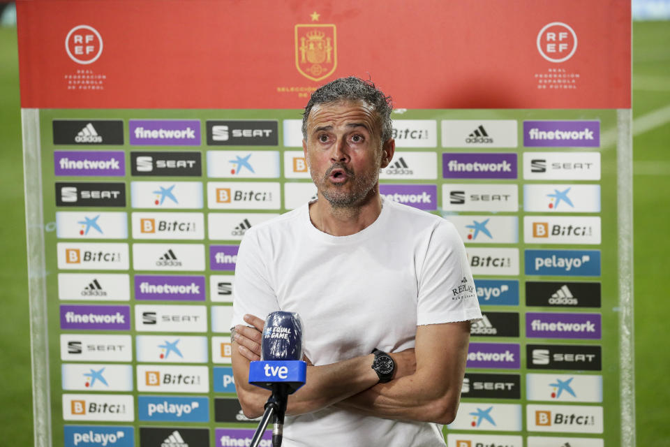 MADRID, SPAIN - JUNE 4: coach Luis Enrique of Spain during the  International Friendly match between Spain  v Portugal at the Estadio Wanda Metropolitano on June 4, 2021 in Madrid Spain (Photo by David S. Bustamante/Soccrates/Getty Images)