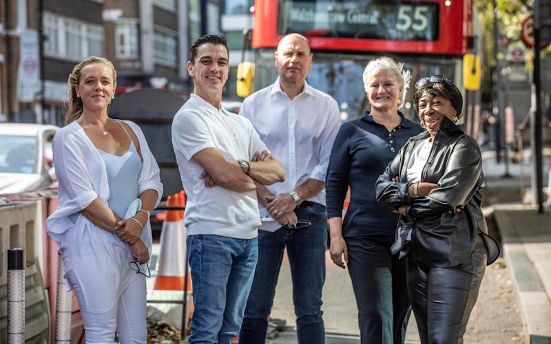 Jody Graber who is standing for election over low traffic concerns in Islington photographed with other local candidates (left to right) Rebecca Kelly, Jody Graber, Trevor Hankins, Penney Seal and Angela McFarlane, all planning to stand in 2022 local Islington elections. - Jeff Gilbert