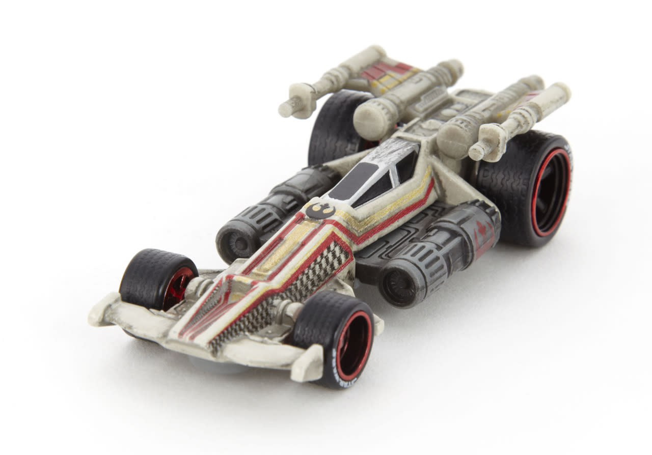 <p>The sleek lines and color scheme of Luke's X-Wing are faithfully incorporated in this Hot Wheels racer. </p>