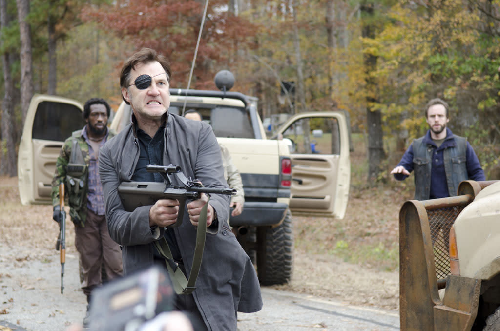 "Shumpert (Travis Love), The Governor (David Morrissey) and Allen (Daniel Thomas May) in ""The Walking Dead"" Season 3 Finale, ""Welcome to the Tombs."""