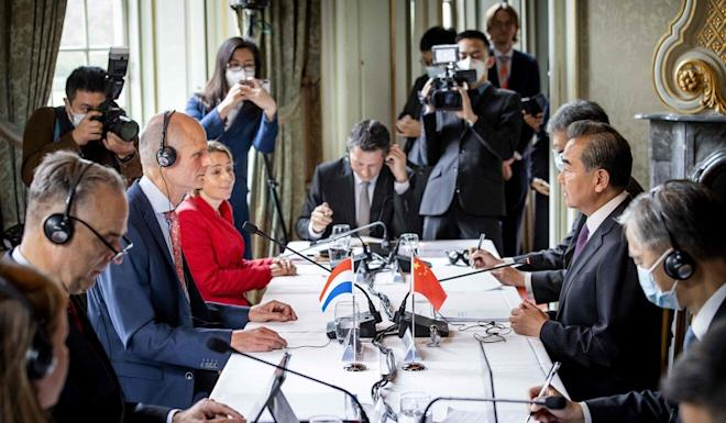 Dutch Minister of Foreign Affairs Stef Blok (left) attends a meeting with his Chinese counterpart Wang Yi at Duivenvoorde Castle in Voorschoten, the Netherlands on Wednesday. Photo: AFP