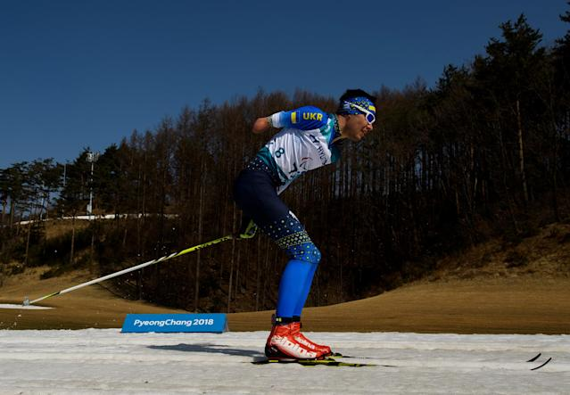 Serhii Romaniuk UKR races in the Cross-Country Skiing Standing Men's 1.5km Sprint Classic at the Alpensia Biathlon Centre. The Paralympic Winter Games, PyeongChang, South Korea, Wednesday 14th March 2018. OIS/IOC/Thomas Lovelock/Handout via REUTERS