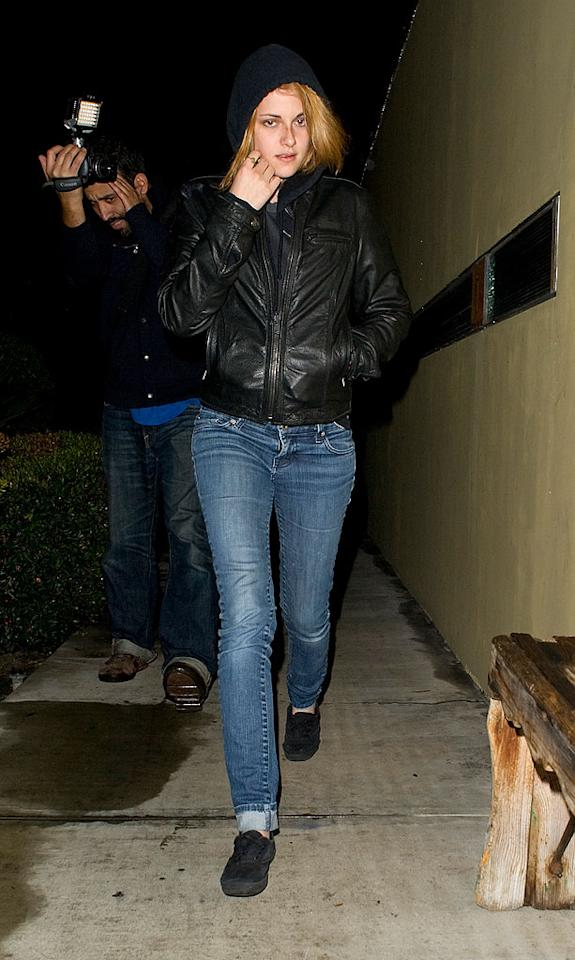 """<i>Star</i> magazine reports Kristen Stewart """"feels she's too flat-chested"""" and wants to get a boob job, but her boyfriend Robert Pattinson is """"trying his best to change her mind about getting breasts implants."""" For the scoop on whether Stewart really plans to go under the knife, check out <a href=""""http://www.gossipcop.com/kristen-stewart-breast-implants-boob-job-breasts-robert-pattinson/"""" target=""""new"""">Gossip Cop</a>. <a href=""""http://www.splashnewsonline.com"""" target=""""new"""">Splash News</a> - October 4, 2010"""