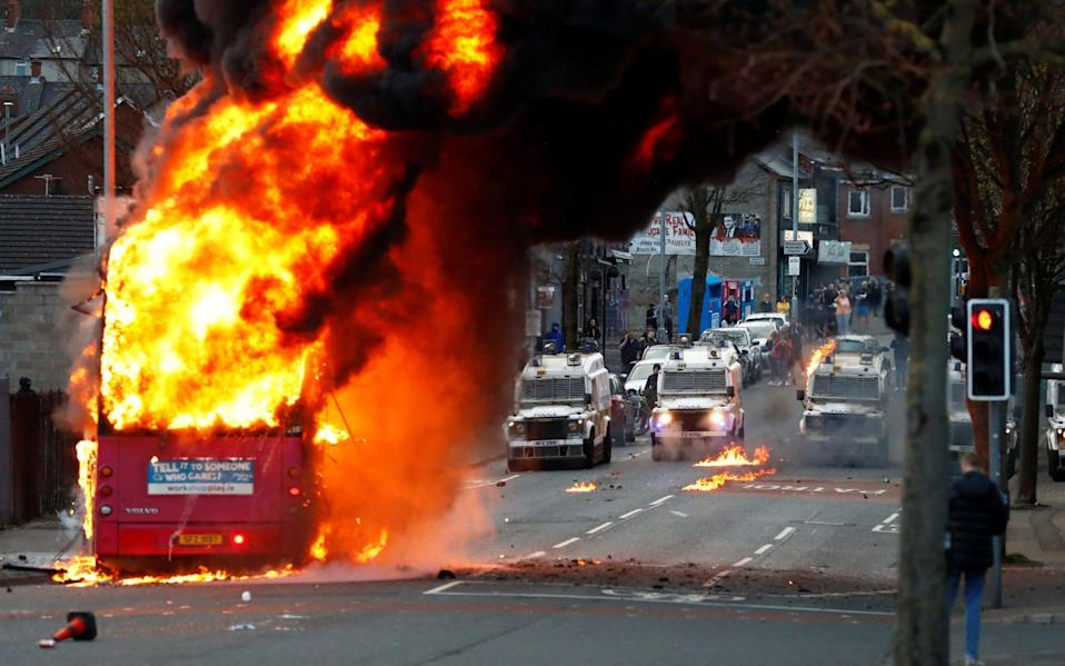 The bus was attacked in west Belfast - REUTERS