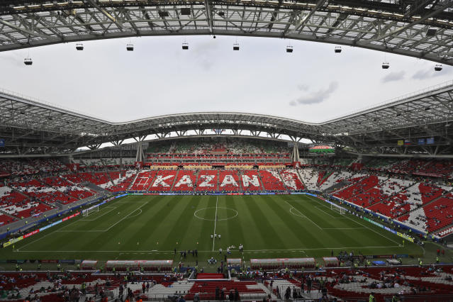 <p>Kazan Arena, Kazan<br>Year opened: 2013<br>Capacity: 45,379<br>Which games: Four group games, one last 16 tie, one quarter final<br>Fun fact: The stadium's exterior features the largest outdoor video screen in Europe. </p>
