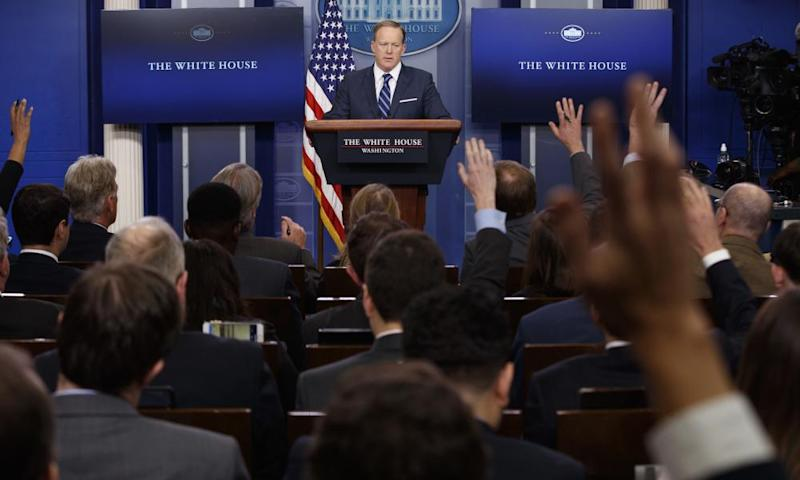 Sean Spicer speaks during the daily press briefing at the White House on Friday.