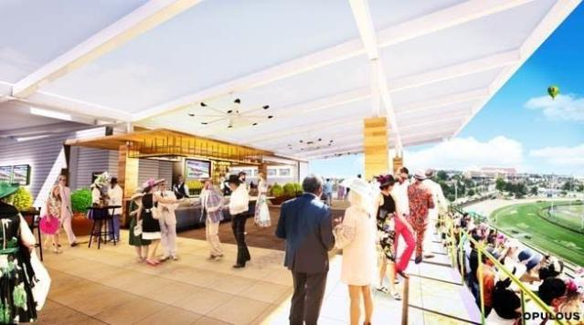 This artist rendering provided by Churchill Downs shows the interior of a rooftop lounge at Churchill Downs in Louisville, Ky. The racetrack announced plans on Wednesday, Sept. 19, 2018, for the $5 million expansion of the Starting Gate Suites. Construction of 20,000-square-foot rooftop garden is expected to begin after the Nov. 2-3 Breeders Cup World Championships and be completed prior to the 2019 Kentucky Derby. (Churchill Downs via AP)