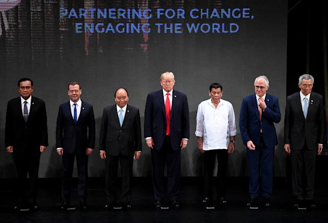 <p>Thailand's Prime Minister Prayut Chan-O-Cha, Russian Prime Minister Dmitry Medvedev, Vietnam's Prime Minister Nguyen Xuan Phuc, US President Donald Trump, Philippine President Rodrigo Duterte, Australia Prime Minister Malcolm Turnbull, Singapore's Prime Minister Lee Hsien Loong, during the Opening ceremony of the 31st ASEAN Summit in Cultural Center of the Philippines (CCP) in Manila on November 13, 2017. REUTERS/Noel Celis/Pool </p>