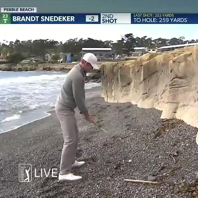 Brandt Snedeker's tee shot found the beach at the par-5 18th at Pebble Beach, yet he still made an incredible birdie.