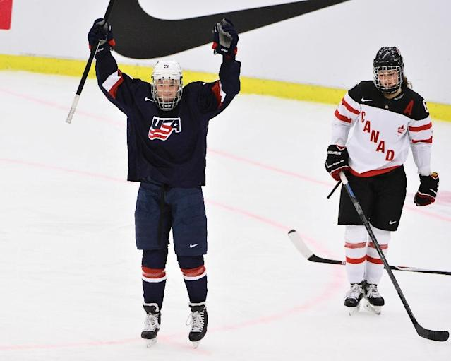 Hilary Knight of the US reacts after scoring a goal during their 2015 IIHF Ice Hockey Women's World Championship final match against Canada, at Malmo Isstadion in Sweden (AFP Photo/Claudio Bresciani)