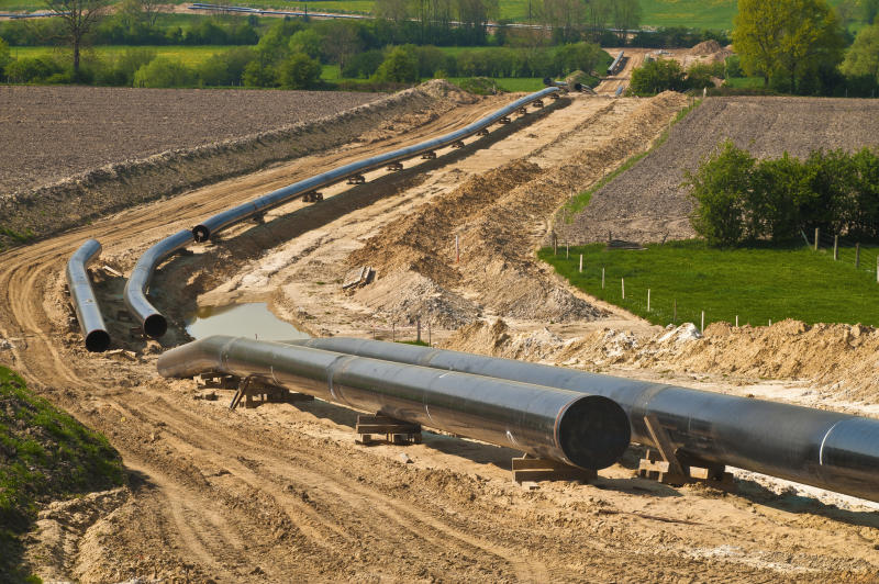 A pipeline laid out for construction.