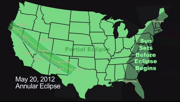 This NASA graphic of the United States depicts the path of the annular solar eclipse of May 20, 2012, when the moon will cover about 94 percent of the sun's surface as seen from Earth.