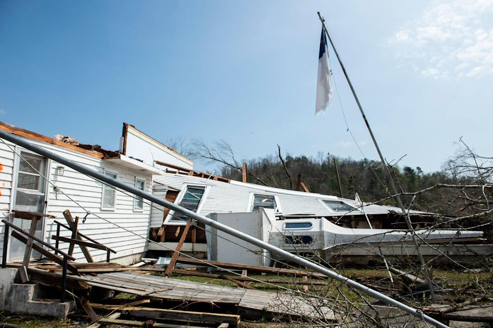 The steeple of the Ragan Chapel United Methodist Church on Ragan Chapel Road in Ohatchee, Ala., is seen on the ground after on Friday, March 26, 2021, after a tornado destroyed the building.