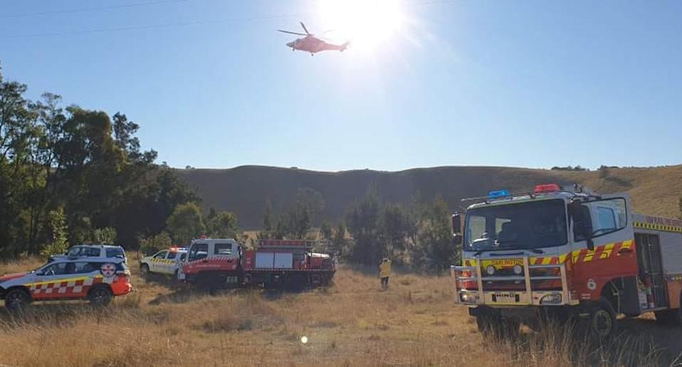 A man is dead after a gyrocopter crash in the NSW Hunter Valley. Source: FF Joanne Smith/Darlington Rural Fire Brigade
