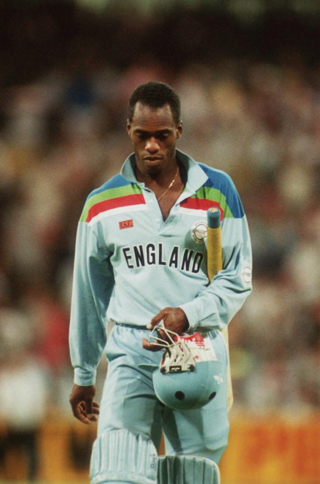 England's Chris Lewis is out for a duck off the first ball during the Cricket World Cup final against Pakistan in Australia, 1992. (Photo by Adrian Murrell/Getty Images)