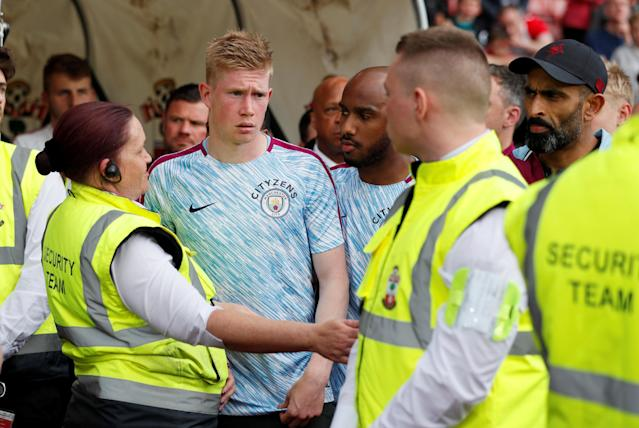 "Soccer Football - Premier League - Southampton vs Manchester City - St Mary's Stadium, Southampton, Britain - May 13, 2018 Manchester City's Kevin De Bruyne after the match REUTERS/David Klein EDITORIAL USE ONLY. No use with unauthorized audio, video, data, fixture lists, club/league logos or ""live"" services. Online in-match use limited to 75 images, no video emulation. No use in betting, games or single club/league/player publications. Please contact your account representative for further details."