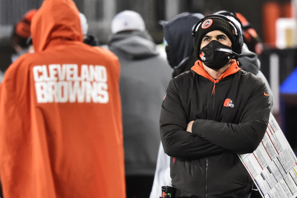 Browns coach Kevin Stefanski will miss his team's first playoff game. (AP Photo/David Richard)