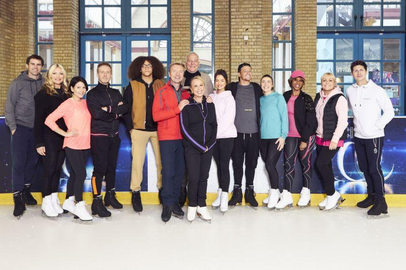 Dancing On Ice class of 2020: Kevin Kilbane, Caprice, Lucrezia Millarini, Ian 'H' Watkins, Perry Kiely, Christopher Dean, Michael Barrymore, Jayne Torvill, Maura Higgins, Joe Swash, Libby Clegg MBE, Trisha Goddard, Lisa George and Ben Hanlin (Credit: ITV)
