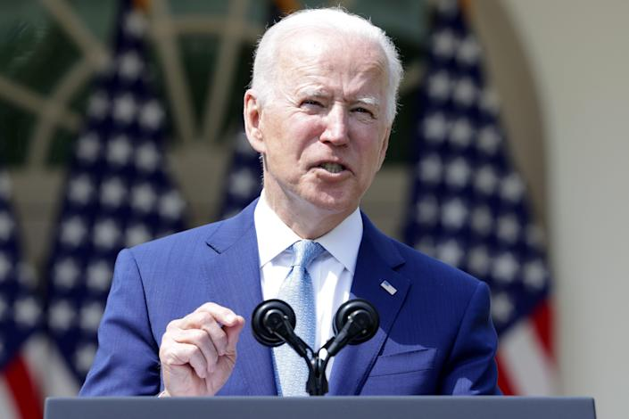 President Joe Biden speaks during an event on gun control in the Rose Garden at the White House on April 8, 2021, in Washington, D.C. Biden signed executive orders to prevent gun violence and announced his pick of David Chipman to head the Bureau of Alcohol, Tobacco, Firearms and Explosives.