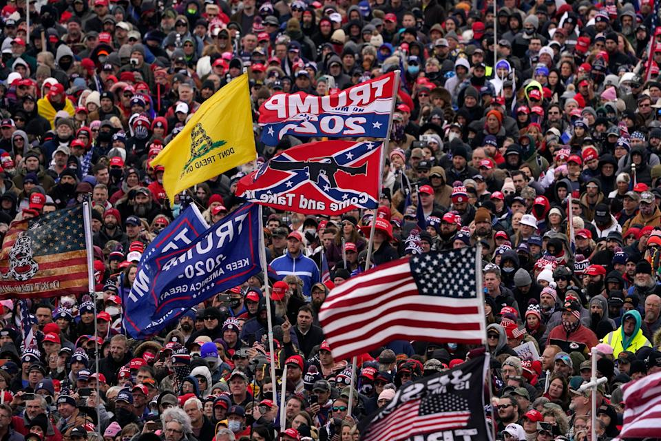"""President Donald Trump tells supporters to """"fight like hell"""" at a rally on Jan. 6, 2021, in Washington, D.C."""