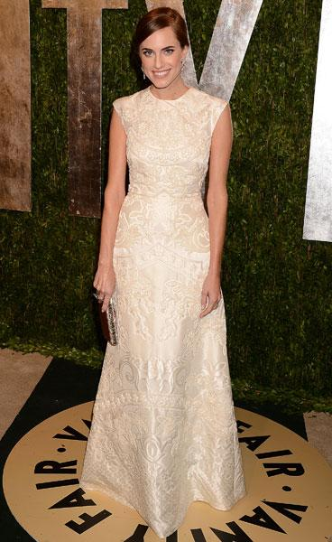 <b>Best dressed: Allison Williams </b><br><br>The Girls star looked sophisticated in this cream Valentino SS13 Couture frock at the Vanity Fair Party.<br><br>Image © Rex