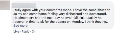 Facebook comment on Serene Eng-Yeo's post addressing Education Minister Ong Ye Kung.