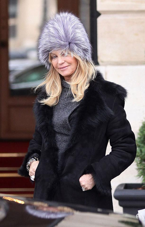 "We couldn't possibly love Goldie Hawn any more than we already do. That said, we couldn't possibly hate her monstrous, Muppet-like hat any more than we already do. Go figure. Marc Piasecki/<a href=""http://www.filmmagic.com/"" target=""new"">FilmMagic.com</a> - January 28, 2011"