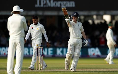 England's Dom Bess celebrates after reaching a half century - Credit: ACTION IMAGES VIA REUTERS