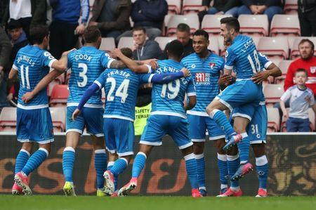 Britain Football Soccer - Sunderland v AFC Bournemouth - Premier League - Stadium of Light - 29/4/17 Bournemouth's Joshua King celebrates scoring their first goal with team mates Reuters / Scott Heppell Livepic