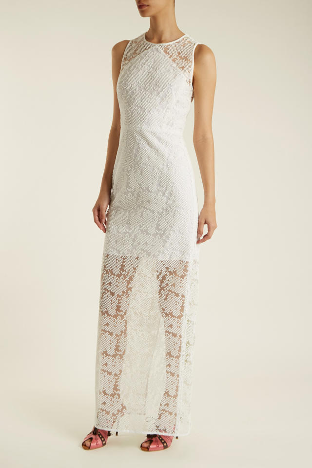 """<p>With the sheer lace overlay, super chic for a beach somewhere with just you two, the officiant, and some random witnesses you pulled off the street. </p><p><em>Diane von Furstenberg, $693</em></p><p><a rel=""""nofollow"""" href=""""https://www.matchesfashion.com/us/products/Diane-Von-Furstenberg-Embroidered-mesh-sleeveless-dress-1155454"""">BUY IT</a><br></p>"""