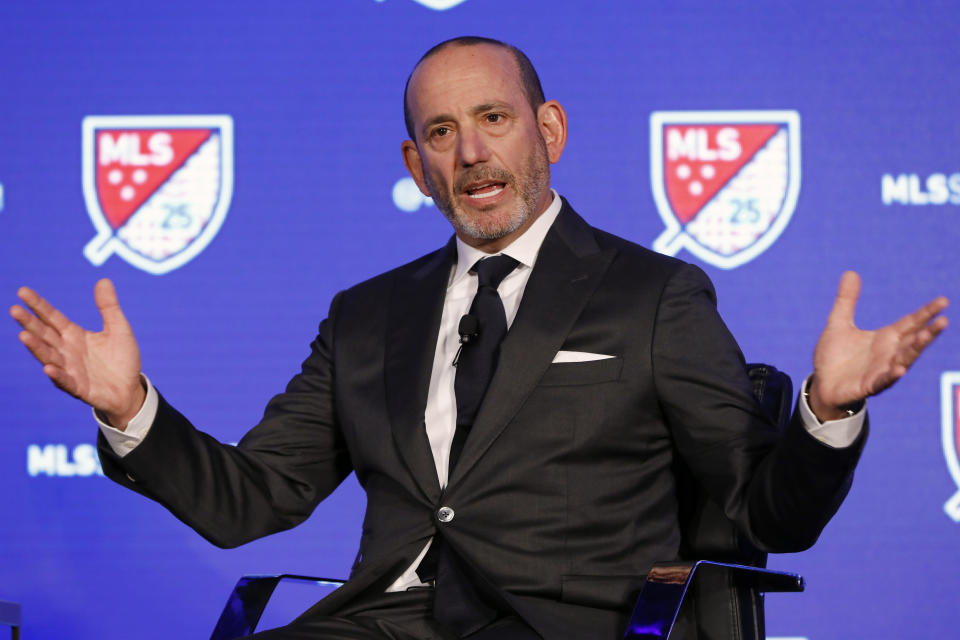 FILE - In this Feb. 26, 2020, file photo, Major League Soccer Commissioner Don Garber speaks during the leagues 25th Season kickoff event in New York. Major League Soccer has extended its deadline for negotiating adjustments to the existing collective bargaining agreement until Feb. 4 and warned it is prepared to lock out players if a deal isn't reached by then. (AP Photo/Richard Drew, File)