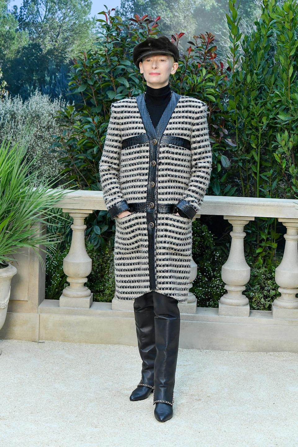 <p>Actress Tilda Swinton donned Parisian stripes at the Chanel haute couture show – the definition of chic. <em>[Photo: Getty]</em> </p>