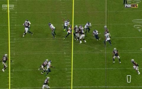 <span>Wilson throws here into too much coverage and is picked off</span> <span>Credit: Sky </span>